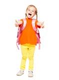 Kleinkind mit Schultasche Stockbild
