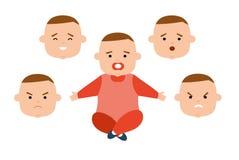 Kleinkind mit verschiedenen Gesichtsausdrücken Freude, Traurigkeit, Ärger, Überraschung, Irritation lizenzfreie abbildung