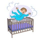 Kleinkind springt in das Bett stockbilder