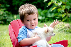 Kleinkind- und Haustierwelpe lizenzfreie stockbilder