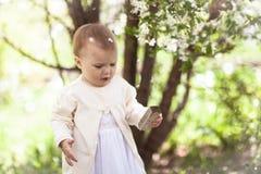 Kleinkindbaby mit Frühlingsblumen Stockbild