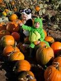 Kleinkinder in den Halloween-Kostümen Stockfotos