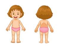 Kleinkindfrontseite und -rückseite stock abbildung
