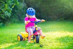 Kleinkindmädchen auf einem Fahrrad Stockfotos