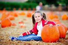 Kleinkindmädchen, das einen Kürbis für Halloween auswählt Stockfoto