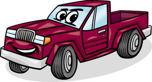 Kleinlastwagencharakter-Karikaturillustration Stockfotos