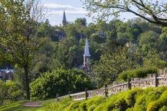 Kleinstadt von oben Stockbild