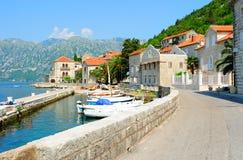 Kleinstadt von Perast in Montenegro Lizenzfreies Stockfoto