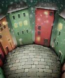 Kleinstadtquadrat auf Weihnachtsnacht Stockfotografie