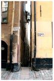 Kleinste straat in Stockholm Stock Afbeelding