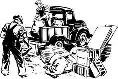 Kleintransporter und Arbeiter vektor abbildung