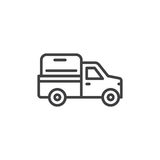 Kleintransporterlinie Ikone, Entwurfsvektorzeichen, lineares Artpiktogramm lokalisiert auf Weiß Symbol, Logoillustration Editable stock abbildung