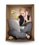 Kleinunternehmen-Frau im Büro-Kasten Stockfotografie