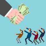 Kleinunternehmer, der für Geld erreicht Stockbild