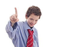 Kleinunternehmer, seine Hand mit einem Finger anhebend Lizenzfreie Stockfotografie