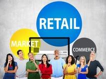 Kleinverbraucher-Handels-Erwerb- am freien Marktkonzept lizenzfreies stockbild