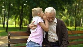 Kleinzoon die geheimen met grootvader delen, die in park, het vertrouwen op relaties zitten stock footage