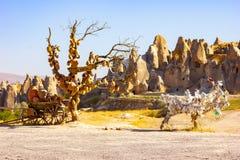 Kleipotten op de boom Rotskerken en duifzolders Zwaardvallei, Goreme, Cappadocia, Anatolië, Turkije populair stock afbeelding