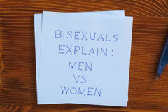 Kleista notatka z tekstem bisexsual wyjaśnia obrazy royalty free