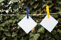 Kleiste notatki na clothespin zdjęcie royalty free