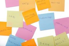Kleiste notatki z dziennymi zadaniami fotografia stock