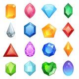 Klejnotów i diamentów ikony ustawiać w różnych kolorach Zdjęcie Royalty Free