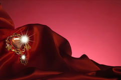 Klejnot i czerwień atłas Zdjęcie Royalty Free