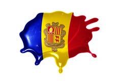 Kleks z flaga państowowa Andorra Obraz Stock