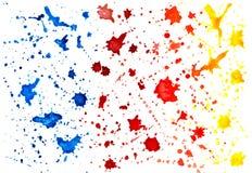 Kleksy malujący z akwarelą tła odcisku palca ilustracyjny biel Zdjęcie Stock