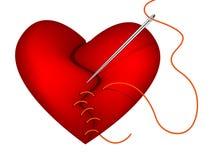 Klem-kunst van gebroken hart en naald Royalty-vrije Stock Afbeeldingen