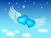 Klem-kunst van vliegende harten Royalty-vrije Stock Afbeelding