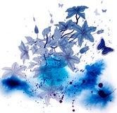 Klematins blommar på abstrakt vattenfärgbakgrund royaltyfri illustrationer