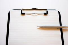 Klembord & pen Stock Afbeeldingen
