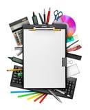 Klembord en kantoorbehoeften Royalty-vrije Stock Foto's