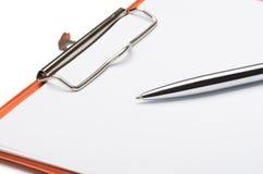 Klembord en pen Royalty-vrije Stock Foto