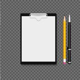 Klembord met klem, koppeling, pen en potlood Grijze achtergrond Vector illustratie stock illustratie