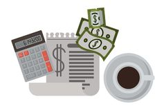 Klembordbelastingen met calculator en rekeningen stock illustratie