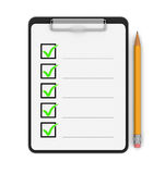 Klembordcontrolelijst (het knippen inbegrepen weg) Stock Fotografie