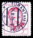 Klement Gottwald (1896-1953), president, serie, circa 1949. MOSCOW, RUSSIA - FEBRUARY 10, 2019: A stamp printed in Czechoslovakia shows Klement Gottwald (1896 stock images