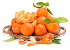 Klementinen oder Tangerinen mit Segmenten und Blättern Lizenzfreie Stockfotos