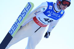 KLEMETSEN Haavard (NOR). At the jump in the nordic combinated in Chaux-Neuve ( France ). 14 January 2012. FIS World Cup Royalty Free Stock Photo