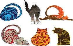 Klemkunst van kleurrijke katten Stock Foto