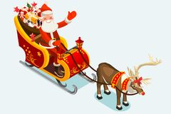 Klemkunst van Santa Sleigh Vector Illustration Royalty-vrije Stock Foto's