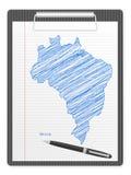 Klemmbrett-Brasilien-Karte Lizenzfreie Stockfotografie