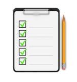 Klemmbrett-Checkliste (Beschneidungspfad eingeschlossen) Stockfotografie