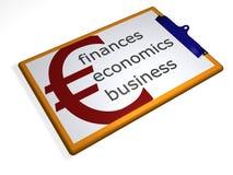 Klemmbrett - Finanzen - Volkswirtschaft - Geschäft Lizenzfreies Stockfoto