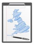 Klemmbrett Großbritannien-Karte Lizenzfreies Stockfoto
