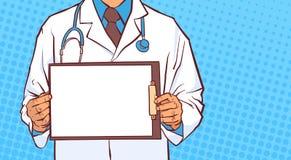 Klemmbrett männliches Prectitioner Doktor-Hold Empty Medical in der weißen Mantel-Nahaufnahme über komischem punktiertem Hintergr vektor abbildung
