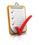 Klemmbrett mit Checkliste Lizenzfreies Stockfoto