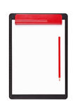 Klemmbrett mit einem roten Bleistift lizenzfreies stockbild